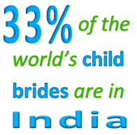 33% of the world's child brides are in India. LEAF Society works with organizations such as Girls Not Brides to change this tragic statistic.